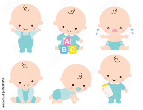 Obraz Cute baby or toddler boy vector illustration in various poses such as standing, sitting, crying, playing, crawling. - fototapety do salonu