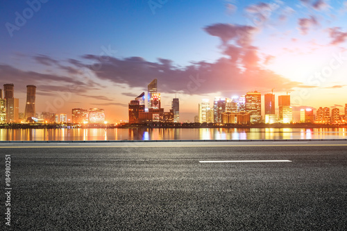 Keuken foto achterwand Buenos Aires Asphalt highway and modern city buildings in hangzhou qianjiang new city at sunset