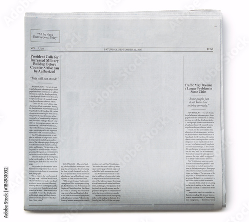 Fototapeta Fake Newspaper Partially Blank with Fake Articles on White Background obraz