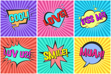 Bright Lovely Retro Comic Speech Bubbles Set With Colorful Kiss Me, Love, Muah, Smile Words. Black Outline Balloons With Halftone And Stripes In Pop Art Style For St. Valentines Cards Design, Label