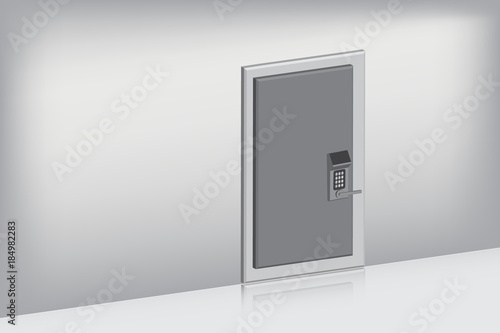 Fototapety, obrazy: Single door with complete set on oblique view., Indoor concept, Vector, Illustration