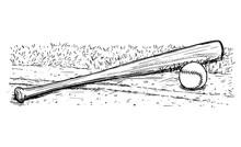 Baseball Bat And Ball Vector H...