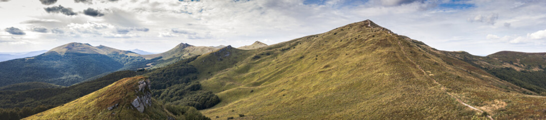 Large Panorama on Bieszczady mountains in Poland during late summer, early autumn