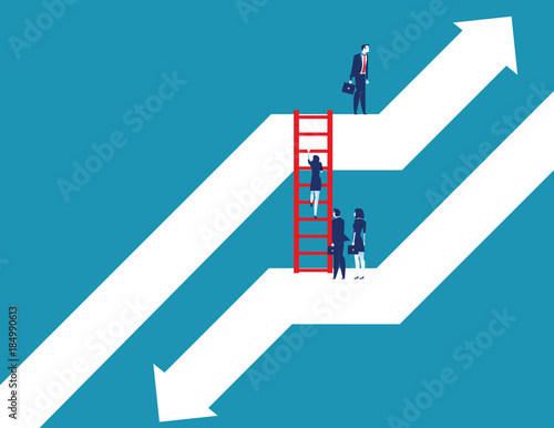 Fototapeta Business team moving up to growth from down graph. Concept business vector illustration. Flat design style. obraz