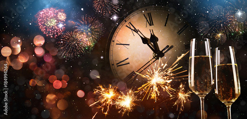 New Years Eve celebration background Canvas Print