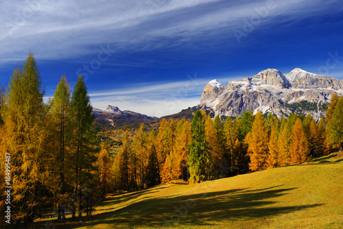 Beautiful autumn landscape in Cortina d Ampezzo, Dolomites, Italy, Europe Fototapete