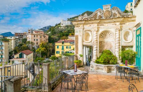 Obraz na płótnie Panoramic view from the Minerva's Garden in Salerno, Campania, Italy