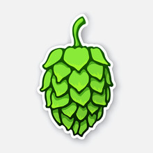Vector Illustration. A Green Cone Of Hop. Symbol Of Alcoholic Beverage. Sticker With Contour. Isolated On White Background. Decoration For Patches,  Prints For Clothes, Emblems, Signboards,  Labels