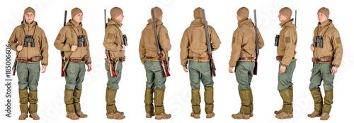 male hunter with double barreled shotgun