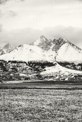 Deurstickers Art Studio Lomnicky peak, High Tatras, Slovakia, colorless