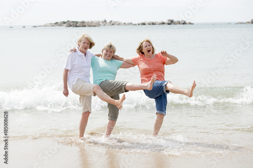 group of three senior mature retired women on their 60s having fun enjoying toge Canvas Print