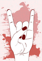 Heavy metal hand gesture. Rock festival poster.  Rock-n-roll sign with red and pink paint stains on white background. Template for slogan, poster, flyers, banner and etc. Vector illustration.