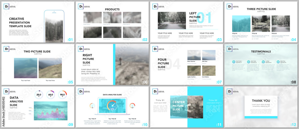 Fototapety, obrazy: Clean and minimal presentation templates. Blue elements on a white background. Brochure cover vector design. Presentation slides for flyer, leaflet, brochure, report, marketing, advertising, banner