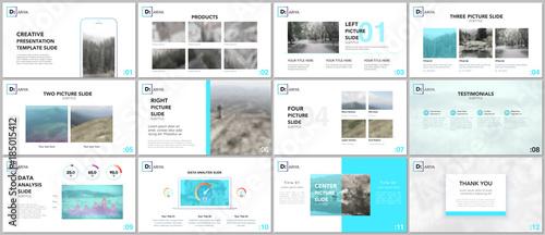 Obraz Clean and minimal presentation templates. Blue elements on a white background. Brochure cover vector design. Presentation slides for flyer, leaflet, brochure, report, marketing, advertising, banner - fototapety do salonu