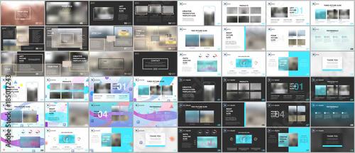 Fototapety, obrazy: Big bundle of clean and minimal presentation templates.  Brochure cover vector design. Presentation slides for flyer, leaflet, brochure, corporate report, marketing, advertising, annual report, banner