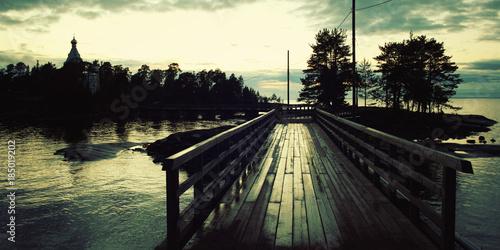 Fotografie, Obraz  Pedestrian timber bridge on the Valaam island