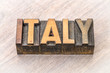 Italy word in vintage wood type