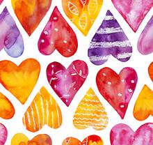 Watercolor Hearts Seamless Pat...