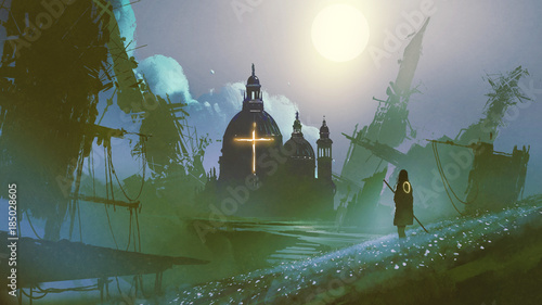 young woman looking at historical buildings in fantasy land, digital art style, illustration painting