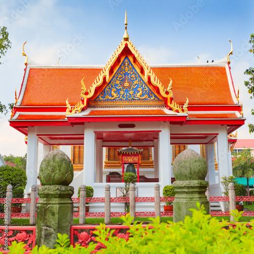 Beautiful white marble monastery Wat Benchamabophit in Bangkok Poster