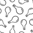 Hand drawn light bulb seamless pattern background. Business flat vector illustration. Idea lightbulb sign symbol pattern.