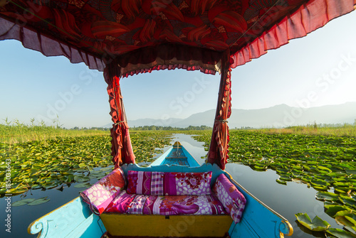 Poster de jardin Nénuphars Beautiful view from the traditional shikara boat on Dal lake, Srinagar, India.