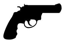 Revolver Gun. Black Silhouette...