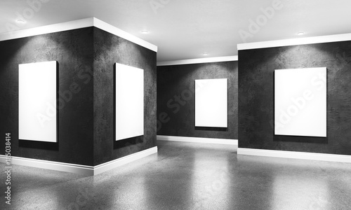 Fototapeta Modern concrete gallery room with directional spotlight and frames. Product artwork exhibition mock up. White isolated art frames. 3d rendering illustration of interior with black plaster walls in per obraz