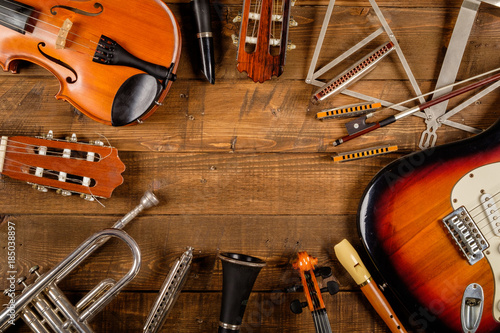 instrument-in-wood-background