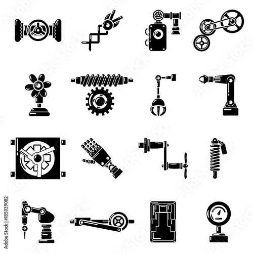 Photo Technical mechanisms icons set, simple style