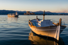 A Small Wooden Boat In Nafplio...