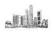 Freehand sketch vector panoramic Singapore city Freehand Drawing. Vector illustration.