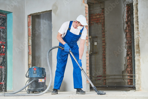 cleaning service. dust removal with vacuum cleaner Canvas Print