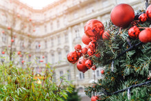 Christmas Decorations Near Hotel Building