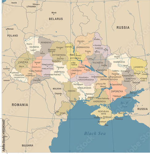Fototapeta Ukraine Map - Vintage Detailed Vector Illustration