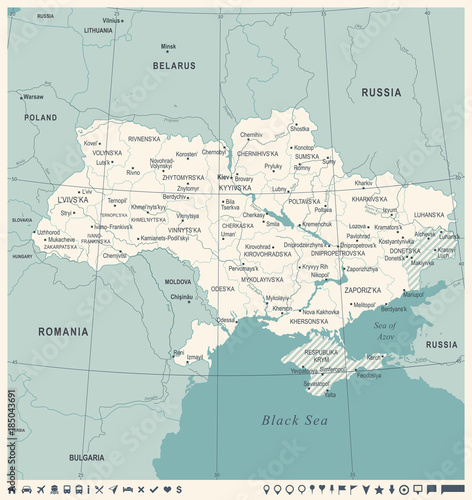 Photo Ukraine Map - Vintage Detailed Vector Illustration