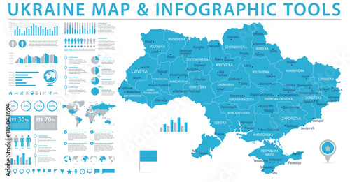 Obraz na plátně Ukraine Map - Info Graphic Vector Illustration