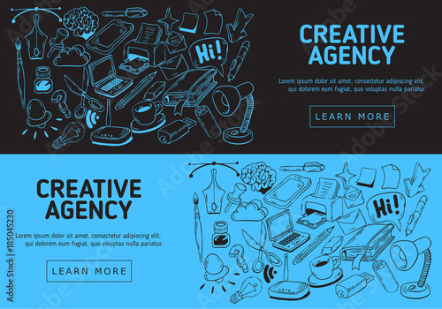 Fotografie, Obraz  Creative Agency Website Banner Design With Artistic Cartoon Hand Drawn Sketchy Line Art Drawings Illustrations Of Essential Related Objects Of Every Day Working Things And Tools