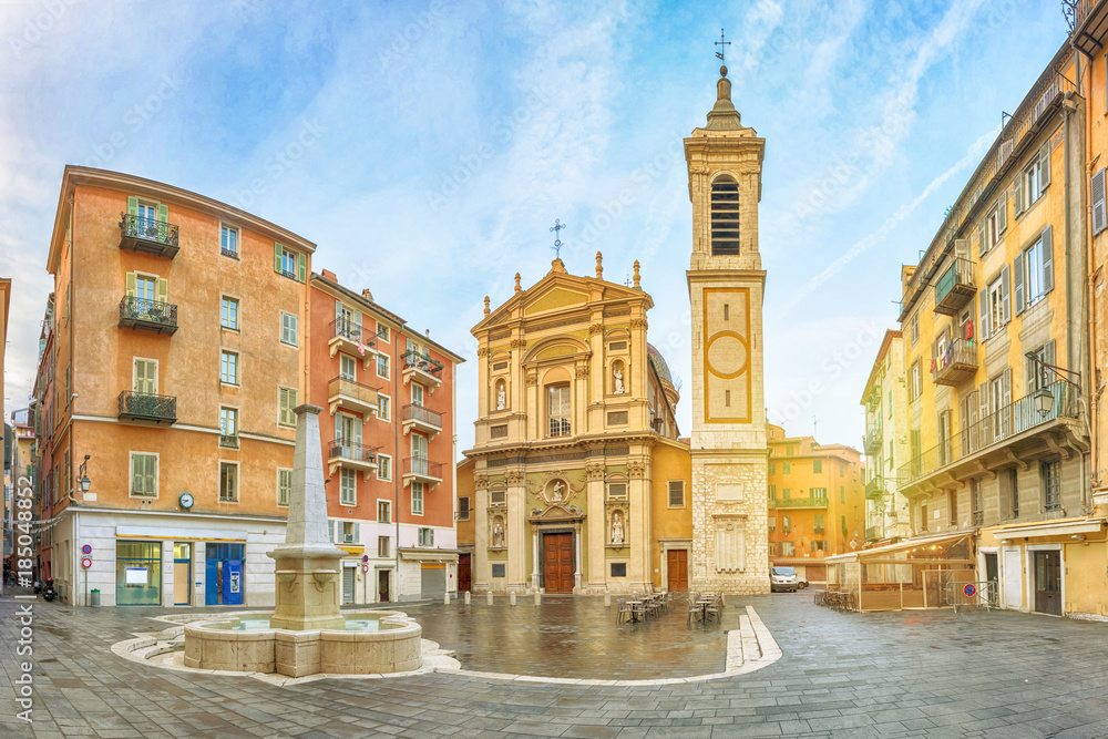 Fototapeta Nice Cathedral made in baroque style located on Place Rossetti square in Nice, Alpes-Maritimes, France