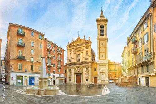 Photo sur Toile Nice Nice Cathedral made in baroque style located on Place Rossetti square in Nice, Alpes-Maritimes, France
