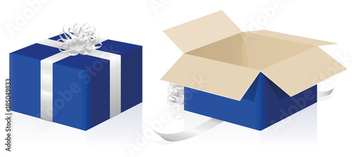 Fotografia, Obraz  Gift package, wrapped and unwrapped blue parcel, closed and opened present carton box - 3d isolated vector illustration on white background