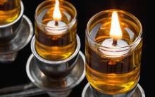 Chanukah Oil Menorah Lights. S...