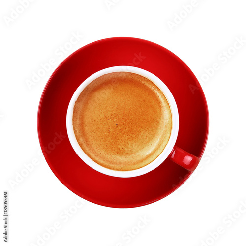Full cup of espresso coffee in red cup on white