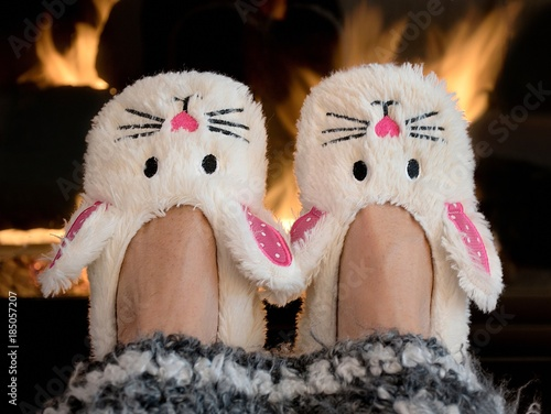 Photo pair of bunny slippers by fireplace with striped afghan