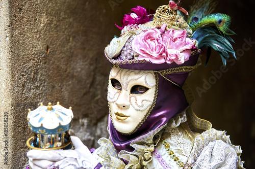 Poster Inspiration painterly Venice carnival 2017. Venetian Carnival Costume, portrait. Venetian Carnival Mask. Venice, Italy.