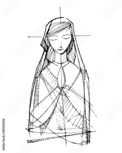 Cuadros en Lienzo Jesus Virgin Mary praying Virgin Mary praying illustration Face illustration