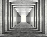 Fototapeta Przestrzenne - Light passing through the columns of a modern urban building. Light and shadows between the concrete columns of the long koredor. 3d illustration