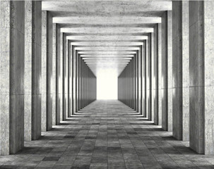 Light passing through the columns of a modern urban building. Light and shadows between the concrete columns of the long koredor. 3d illustration