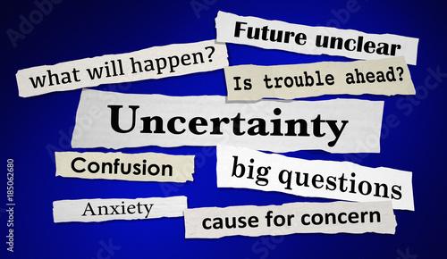 Vászonkép Uncertainty News Headlines Anxiety Unclear Future 3d Illustration