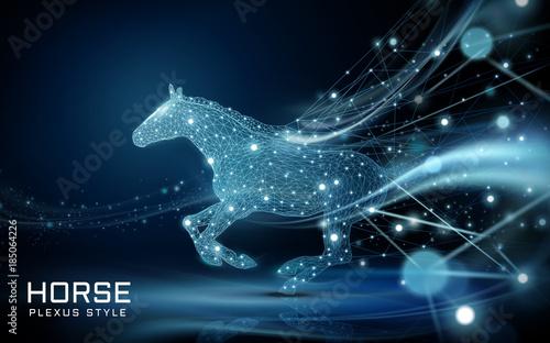 Fototapeta Bolting horse in plexus style obraz